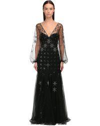 Temperley London Платье Из Жоржетв С Вышивкой - Черный