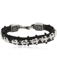 Cantini Mc Firenze - Fleur-de-lis Silver & Leather Bracelet - Lyst