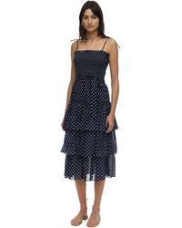 Tory Burch フリルコットンボイルドレス - ブルー