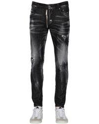 DSquared² Jean En Denim De Coton Coupe Skater 16cm - Noir