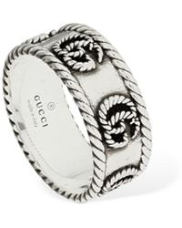 "Gucci 9mm Dicker Ring ""gg Marmont"" - Mettallic"