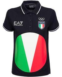 EA7 Italian Olympic Team Iconic Polo - Blue