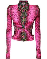 Versace Camicia In Jersey Di Viscosa Stampa Pitone - Multicolore