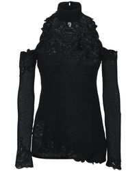 Ermanno Scervino Knit & Lace Sleeveless Top - ブラック