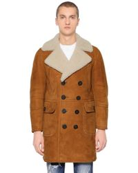 DSquared² Doppelreihiger Mantel Aus Shearling - Braun
