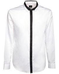 Armani Exchange ツートーン コットンポプリンシャツ - ホワイト