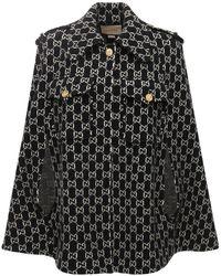 Gucci Cape En Feutre De Laine Logo En Jacquard - Noir