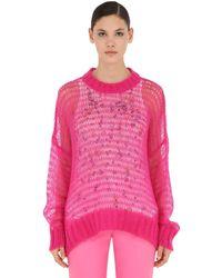 N°21 Pullover Aus Wollmischstrick Mit Tanktop - Pink