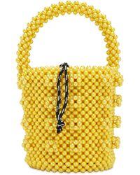 Shrimps Poppy Beaded Top Handle Bag - Yellow