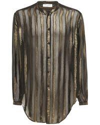 Saint Laurent ビスコース&シルクオーバーサイズシャツ - ブラック