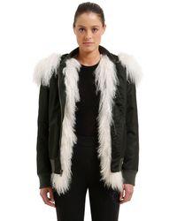 Mr & Mrs Italy Slim Fit Bomber Jacket W/ Fur - Green
