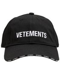 Vetements Logo Cotton Baseball Cap - Black