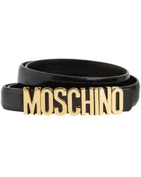 Moschino Cinturón De Piel Con Logo 2cm - Negro