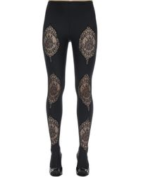 Versace Lycra & Lace Footed Leggings - Черный