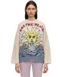 Stella McCartney Pull en coton et lin intarsia - Multicolore