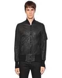 Giorgio Brato - Zip-up Washed Leather Bomber Jacket - Lyst