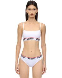 Moschino Elastic Logo Band Microfiber Bralette - White