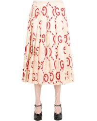 Gucci - Ghost Pleated Printed Silk Skirt - Lyst