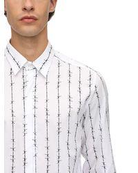 DIESEL Bedrucktes Hemd Aus Baumwollpopeline - Weiß