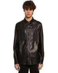 Neil Barrett Leather Shirt Jacket W/ Jersey Panel - Black