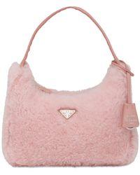 Prada Mini Shearling Top Handle Bag - Pink