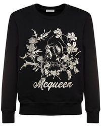 Alexander McQueen Хлопковый Свитшот С Вышивкой - Черный