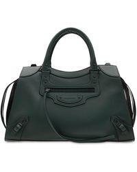 Balenciaga Logo Leather Duffle Bag - Green