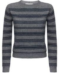 Max Mara Striped Wool & Cashmere Rib Knit Jumper - Grey