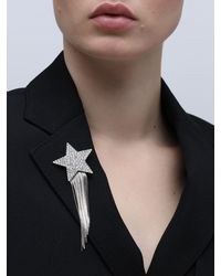 Saint Laurent Stars & Love Star Brooch W/ Crystals - Multicolour