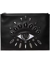 KENZO - Eye Embroidered Leather Pouch - Lyst