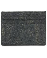 Etro Paisley コーテッドコットンカードケース - ブラック