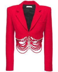 Area Blazer Cropped De Tweed Decorado Con Cristales - Rojo