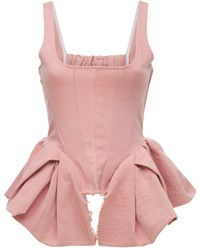 Marques'Almeida Organic Cotton Jersey Fitted Corset Top - Pink
