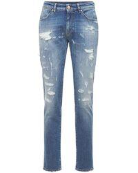PT Torino 17.5cm Super Slim Destroyed Cotton Jeans - Blue