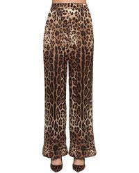 Dolce & Gabbana Hose Mit Weitem Bein Aus Stretch-seidensatin Mit Leopardenprint - Braun