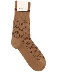 Gucci Socken Aus Baumwolle Mit Logo - Braun