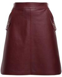 Sportmax Leather A Line Mini Skirt - Multicolor