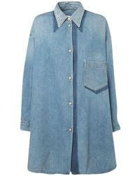 MM6 by Maison Martin Margiela Рубашка-платье Shadow Из Хлопкового Денима - Синий