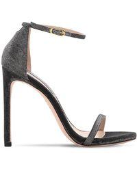 Stuart Weitzman 120mm Nudist Glittered Fabric Sandals - Black