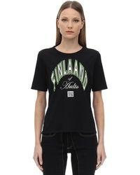 AALTO Printed Cotton T-shirt - Schwarz