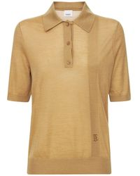 Burberry Madeline Logo Wool Blend Knit Polo - Brown