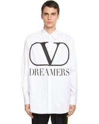 Valentino Рубашка Из Хлопка Поплин - Белый