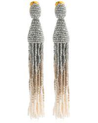 Oscar de la Renta - Long Ombre Beaded Tassel Earrings - Lyst