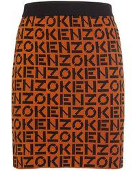 KENZO Monogram ウールブレンドミニスカート - オレンジ