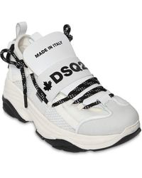"DSquared² 70mm Hohe Sneakers Aus Leder & Mesh ""d-bumpy One"" - Weiß"