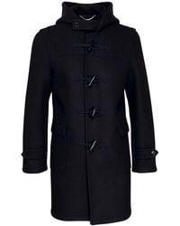 Saint Laurent Hooded Wool Duffle Coat - Black