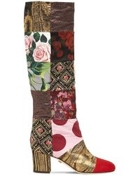 Dolce & Gabbana 60mm Patchwork Canvas Tall Boots - Multicolour