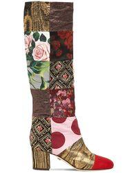 Dolce & Gabbana Patchwork キャンバスロングブーツ 60mm - マルチカラー