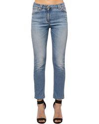 Balmain Enge Jeans Aus Baumwollmischdenim - Blau