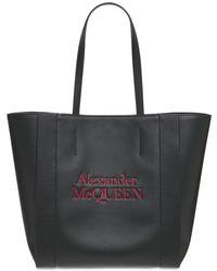 Alexander McQueen Logo Signature Leather Tote Bag - Черный